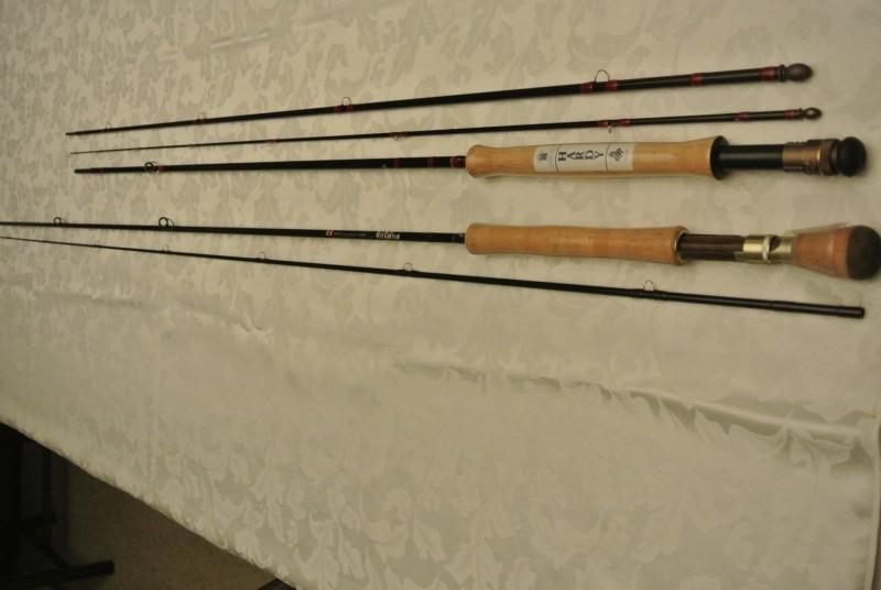 Hardy 3 piece fly rod #718 and Daiwa Alltmor 2 piece fly rod AMF11.