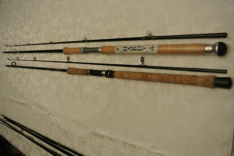 Hardy Fibalite spinning rod and Daiwa Carba Regal spinning rod.